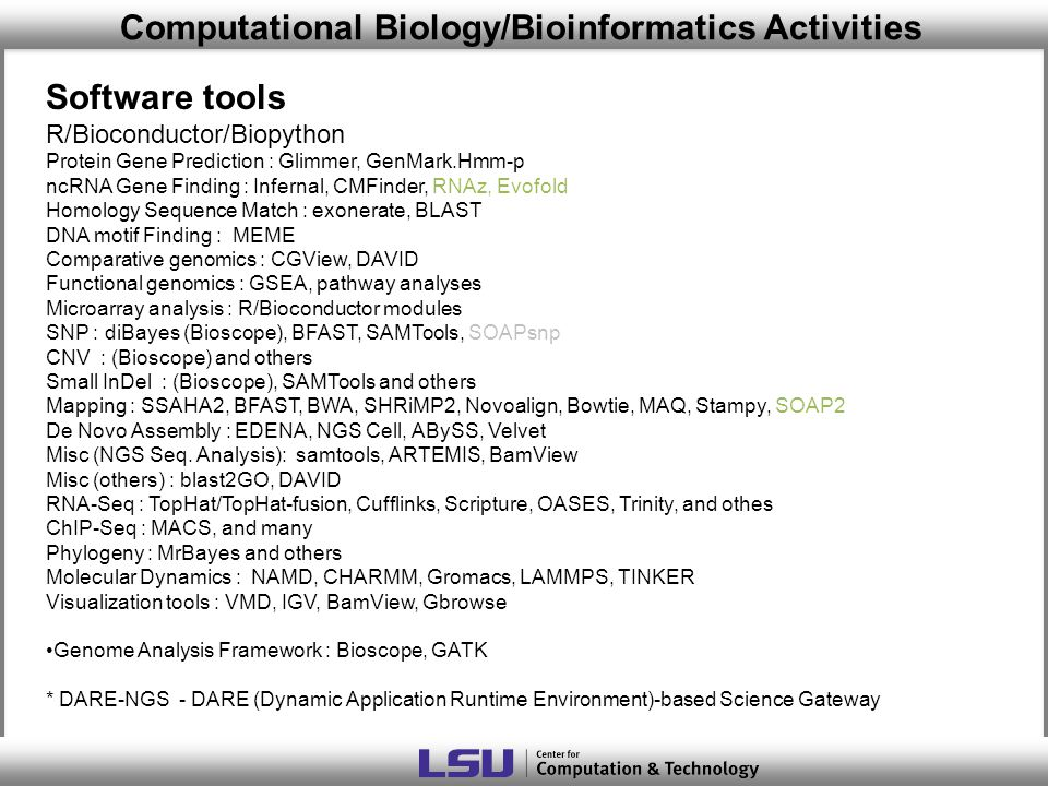 Computational Biology/Bioinformatics Activities Software tools R/Bioconductor/Biopython Protein Gene Prediction : Glimmer, GenMark.Hmm-p ncRNA Gene Finding : Infernal, CMFinder, RNAz, Evofold Homology Sequence Match : exonerate, BLAST DNA motif Finding : MEME Comparative genomics : CGView, DAVID Functional genomics : GSEA, pathway analyses Microarray analysis : R/Bioconductor modules SNP : diBayes (Bioscope), BFAST, SAMTools, SOAPsnp CNV : (Bioscope) and others Small InDel : (Bioscope), SAMTools and others Mapping : SSAHA2, BFAST, BWA, SHRiMP2, Novoalign, Bowtie, MAQ, Stampy, SOAP2 De Novo Assembly : EDENA, NGS Cell, ABySS, Velvet Misc (NGS Seq.