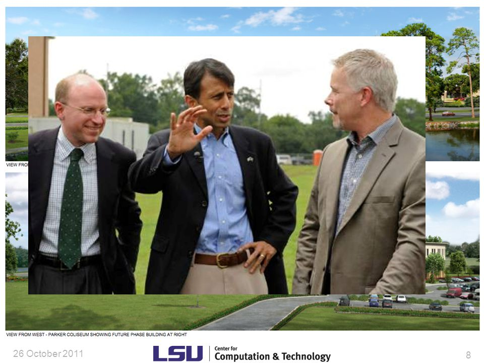 Relevance to Biological Sciences (current & near term) Cyber-Infrastructure: –Tezpur (LSU) and Queen Bee (LONI) available, free of charge to LSU researchers –SuperMike II recently installed at LSU 440 compute nodes: at 16 cores per node  7040 cores 50 nodes contain attached pair of GPUs to accelerate suitable codes 8 nodes are tied together via ScaleMP  even serial codes can see 2 TBytes of RAM In principle, able to execute Windows OS applications –Network infrastructure Working closely with LSU's ITS and LONI to build more steerable and higher bandwidth network connectivity across the campus and state that is smoothly integrated with national research networks –Data storage and management Working closely with LSU's ITS and LONI to provide more adequate data storage and data management/ curation 13 Dec.