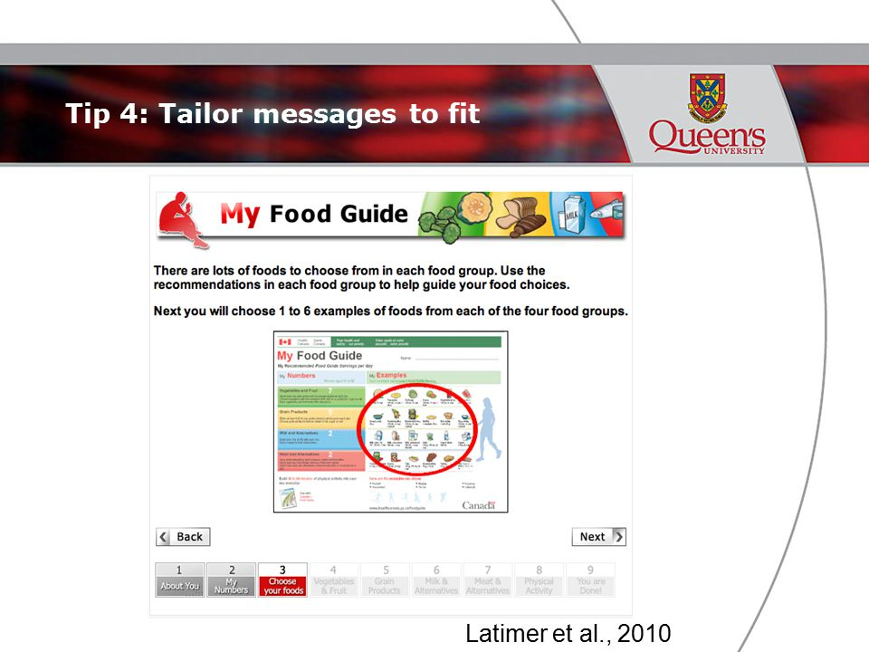 Tip 4: Tailor messages to fit Latimer et al., 2010