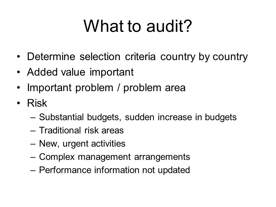 What to audit.