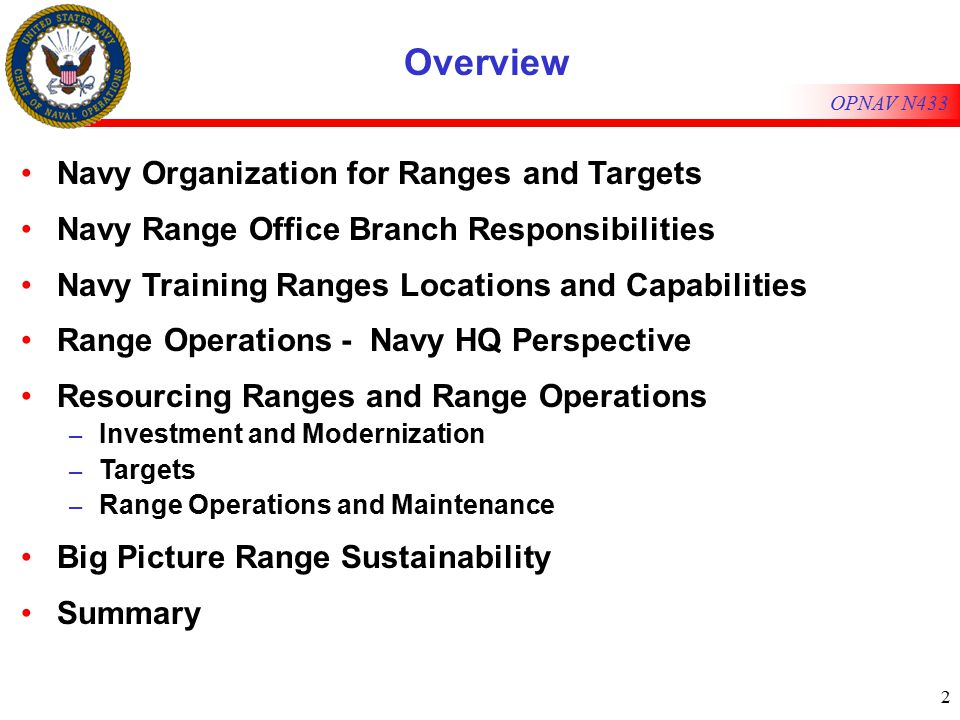 2 Overview Navy Organization for Ranges and Targets Navy Range Office Branch Responsibilities Navy Training Ranges Locations and Capabilities Range Operations - Navy HQ Perspective Resourcing Ranges and Range Operations – Investment and Modernization – Targets – Range Operations and Maintenance Big Picture Range Sustainability Summary