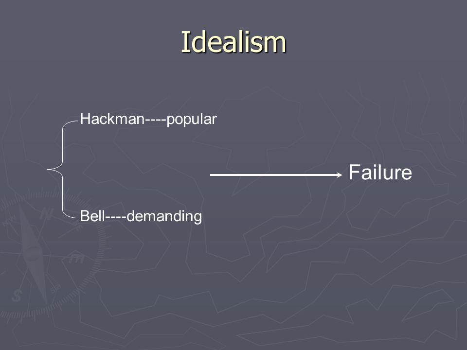 Idealism Failure Hackman----popular Bell----demanding