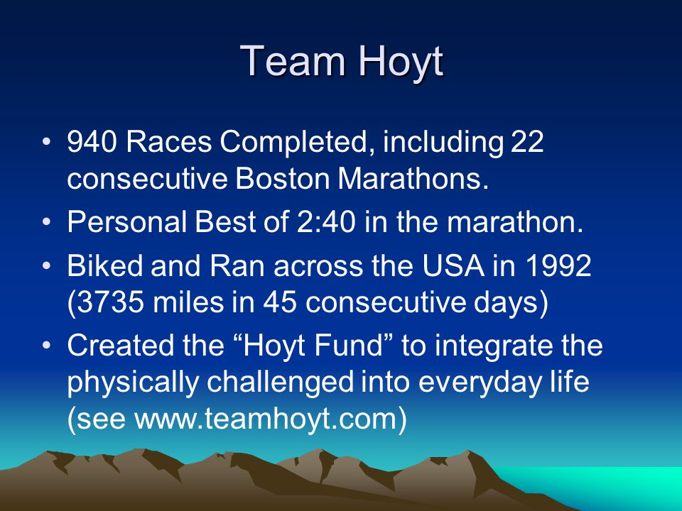 Team Hoyt 940 Races Completed, including 22 consecutive Boston Marathons.