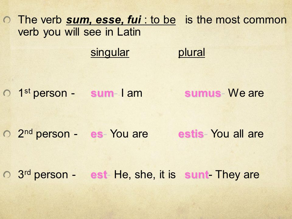 The verb sum, esse, fui : to be is the most common verb you will see in Latin singularplural sumsumus 1 st person -sum- I am sumus- We are esestis 2 n