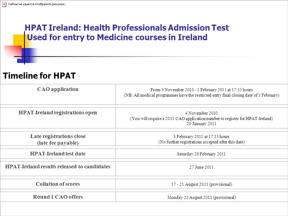 HPAT Ireland: Health Professionals Admission Test Used for entry to Medicine courses in Ireland Timeline for HPAT CAO application From 3 November 2010