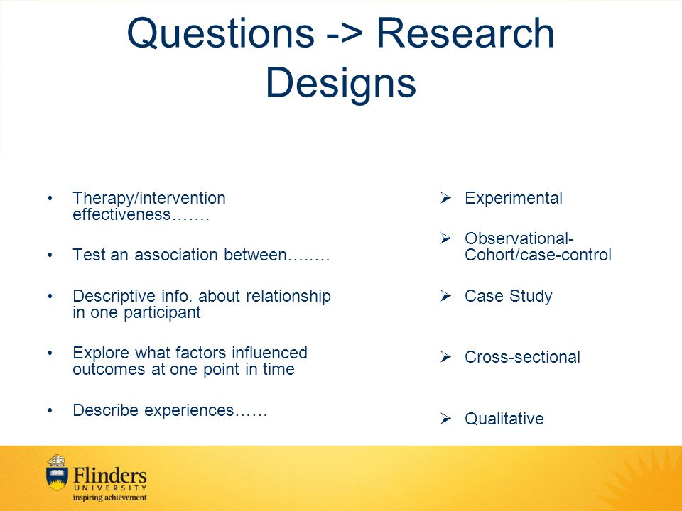Questions -> Research Designs Therapy/intervention effectiveness……. Test an association between…..… Descriptive info. about relationship in one partic
