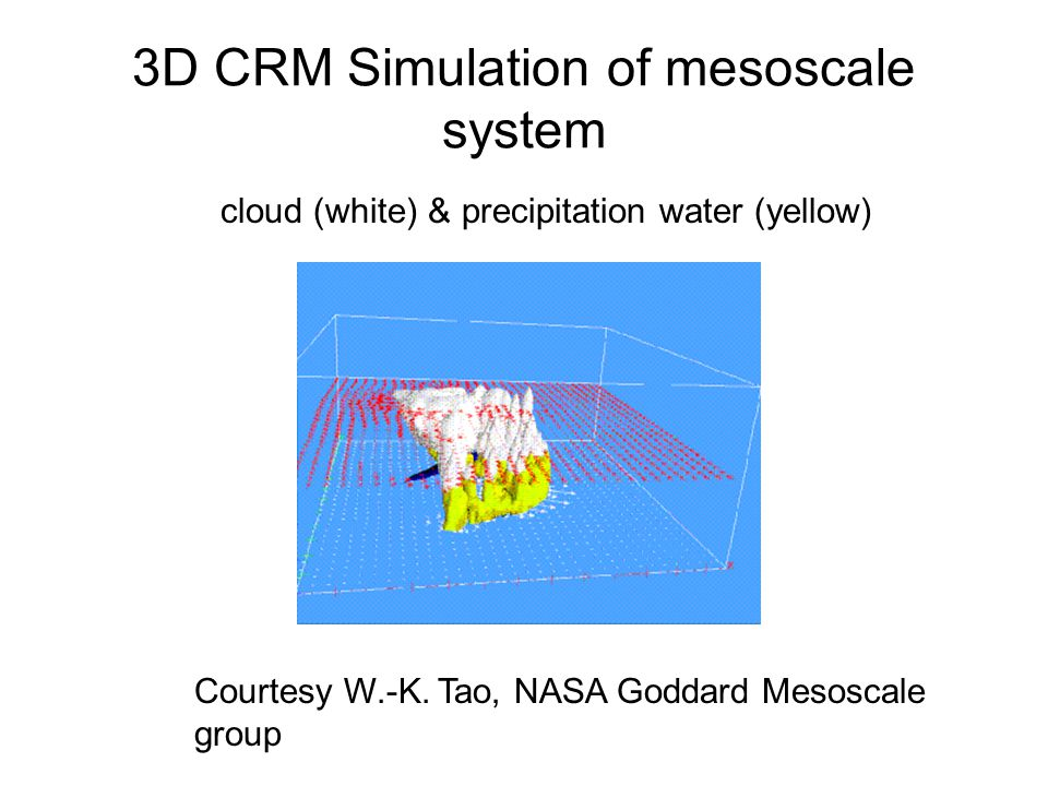3D CRM Simulation of mesoscale system Courtesy W.-K. Tao, NASA Goddard Mesoscale group cloud (white) & precipitation water (yellow)