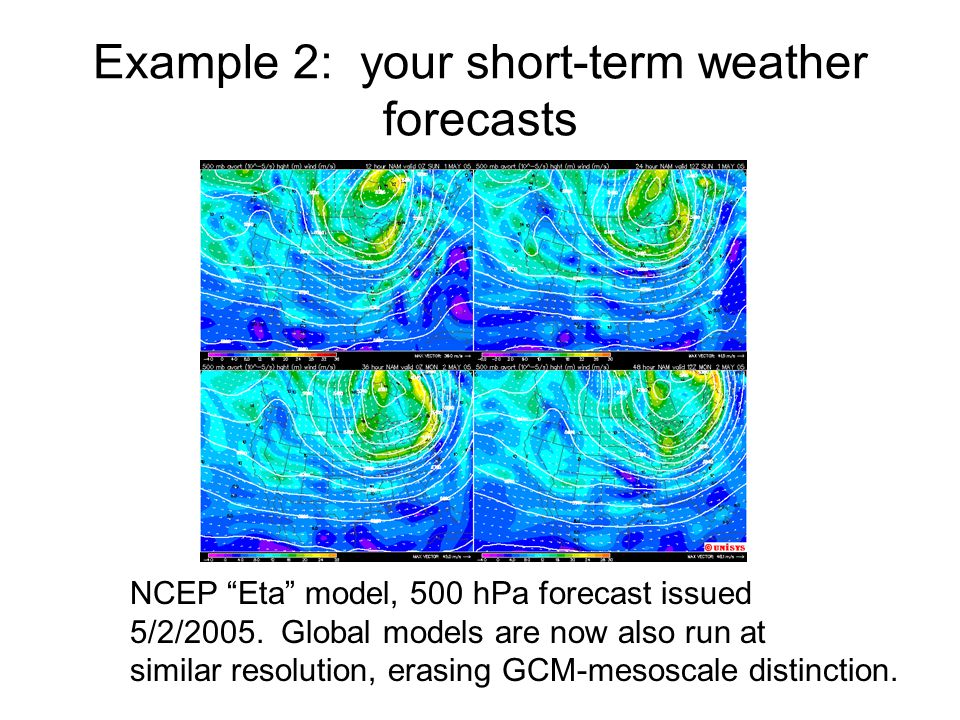 "Example 2: your short-term weather forecasts NCEP ""Eta"" model, 500 hPa forecast issued 5/2/2005. Global models are now also run at similar resolution,"