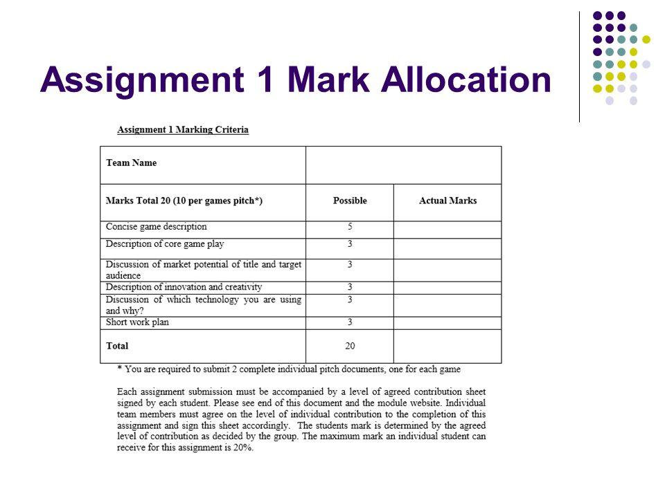 Assignment 1 Mark Allocation