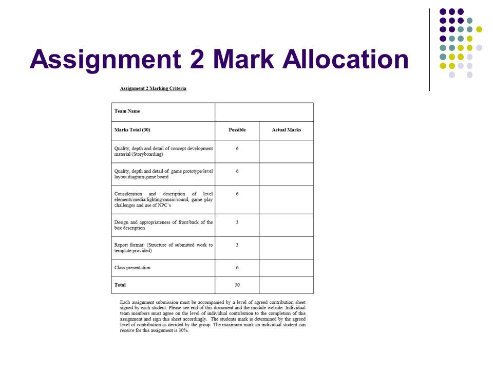 Assignment 2 Mark Allocation