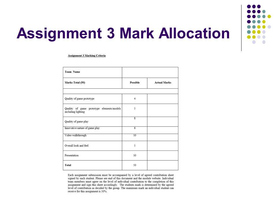 Assignment 3 Mark Allocation