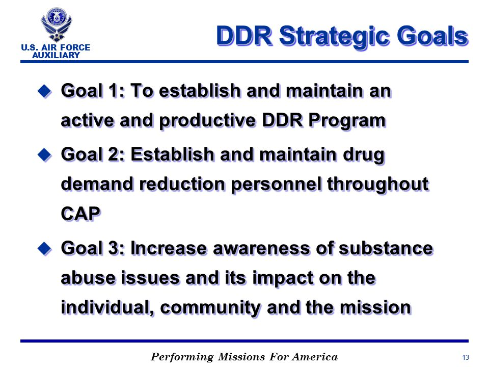 Performing Missions For America U.S. AIR FORCE AUXILIARY 13 DDR Strategic Goals u Goal 1: To establish and maintain an active and productive DDR Progr