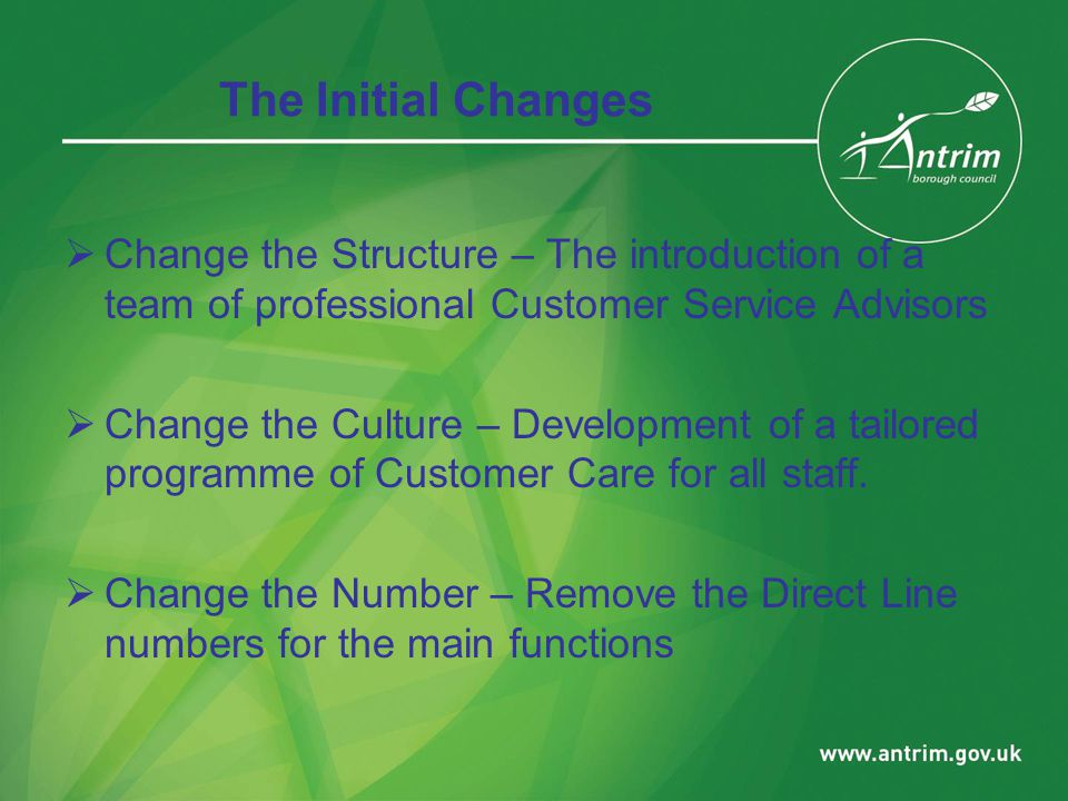 The Initial Changes  Change the Structure – The introduction of a team of professional Customer Service Advisors  Change the Culture – Development of a tailored programme of Customer Care for all staff.