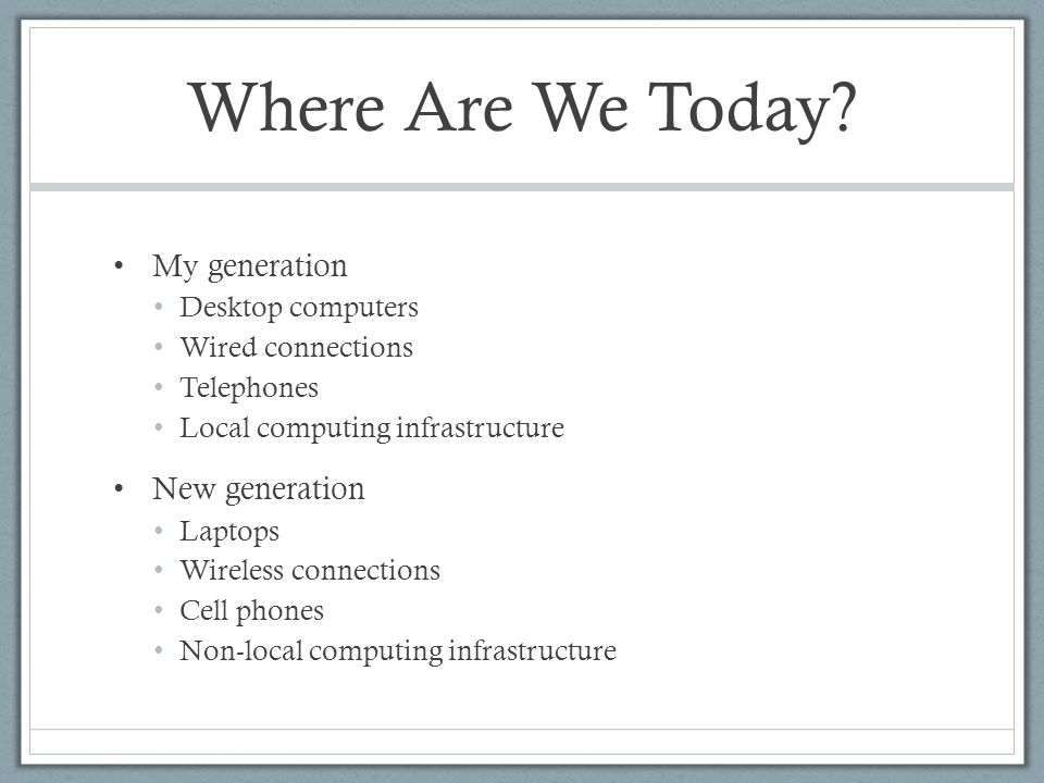 Where Are We Today.