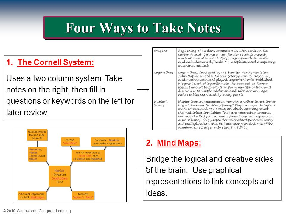 © 2010 Wadsworth, Cengage Learning Four Ways to Take Notes 1.