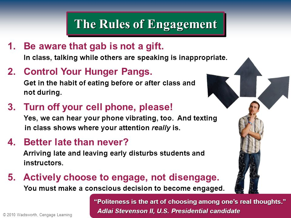 © 2010 Wadsworth, Cengage Learning The Rules of Engagement 1.