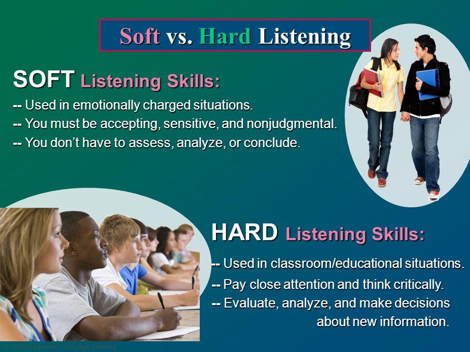 © 2010 Wadsworth, Cengage Learning Soft vs.