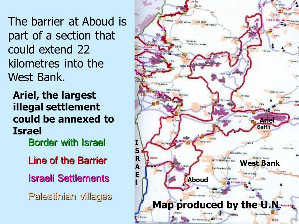 TheThe Separation Barrier confiscates land from many Palestinian villages ItIt is destroying the possibility of establishing a viable Palestinian state existing peacefully side by side with Israel ItsIts construction creates poverty, resentment and anger