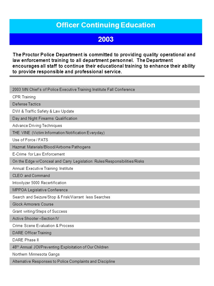 Officer Continuing Education 2003 The Proctor Police Department is committed to providing quality operational and law enforcement training to all department personnel.