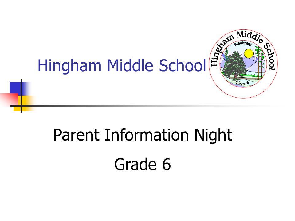 Hingham Middle School Parent Information Night Grade 6
