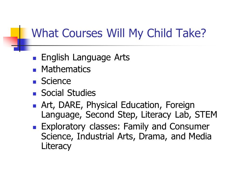What Courses Will My Child Take? English Language Arts Mathematics Science Social Studies Art, DARE, Physical Education, Foreign Language, Second Step