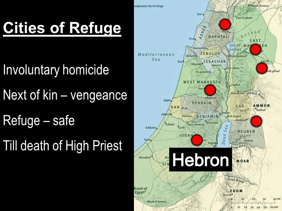Cities of Refuge Involuntary homicide Next of kin – vengeance Refuge – safe Till death of High Priest