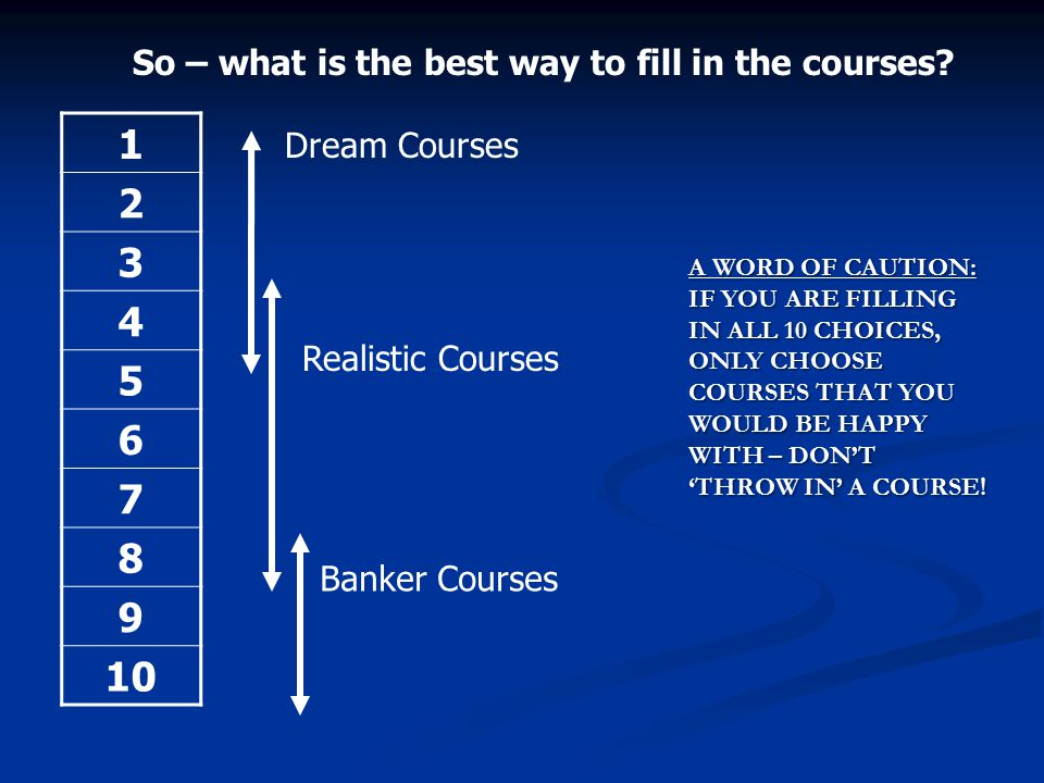 1 2 3 4 5 6 7 8 9 10 So – what is the best way to fill in the courses? Dream Courses Realistic Courses Banker Courses A WORD OF CAUTION: IF YOU ARE FI