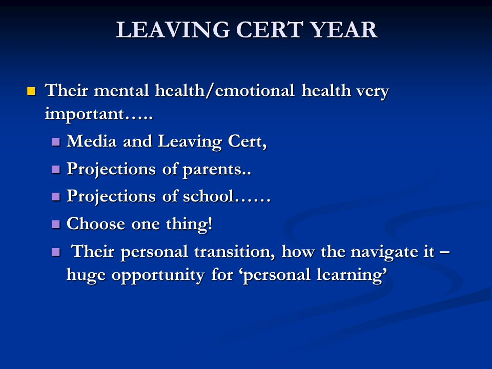 LEAVING CERT YEAR Their mental health/emotional health very important…..