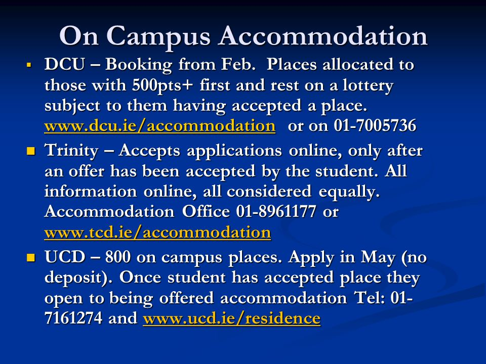 On Campus Accommodation  DCU – Booking from Feb.