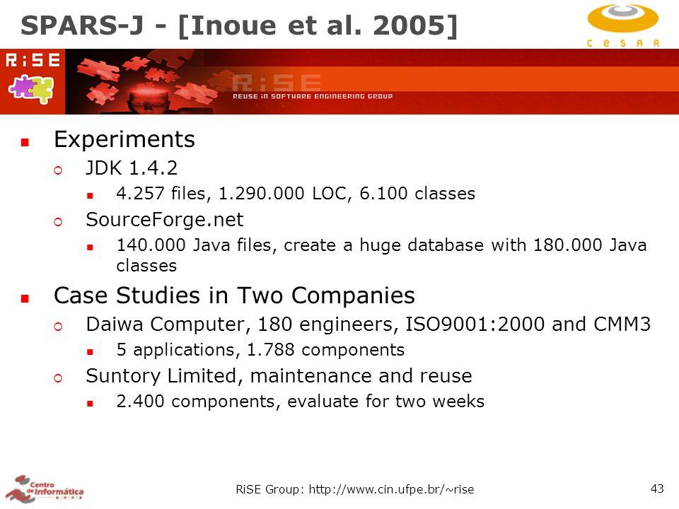RiSE Group: http://www.cin.ufpe.br/~rise 43 SPARS-J - [Inoue et al.