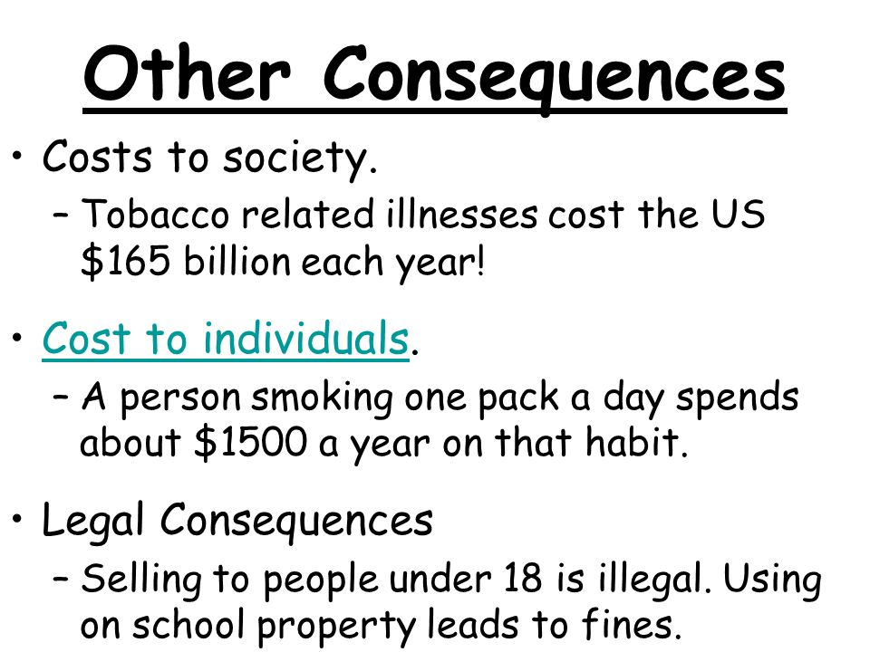Other Consequences Costs to society. –Tobacco related illnesses cost the US $165 billion each year.