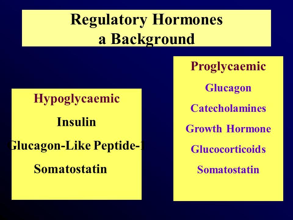 Regulatory Hormones a Background Proglycaemic Glucagon Catecholamines Growth Hormone Glucocorticoids Somatostatin Hypoglycaemic Insulin Glucagon-Like Peptide-1 Somatostatin