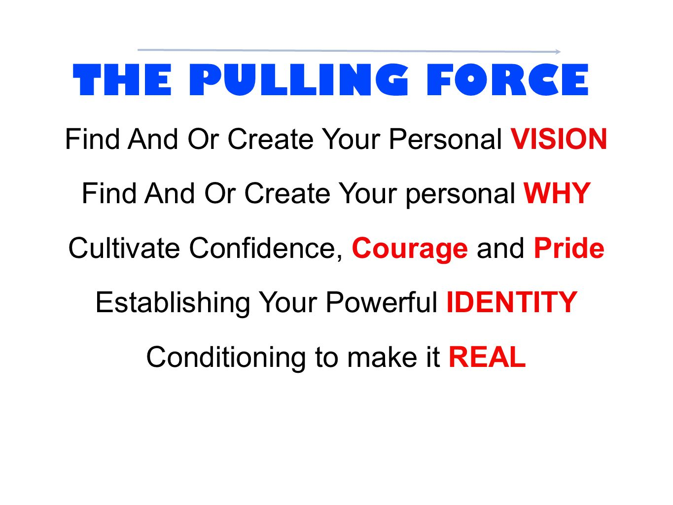 THE PULLING FORCE Find And Or Create Your Personal VISION Find And Or Create Your personal WHY Cultivate Confidence, Courage and Pride Establishing Yo