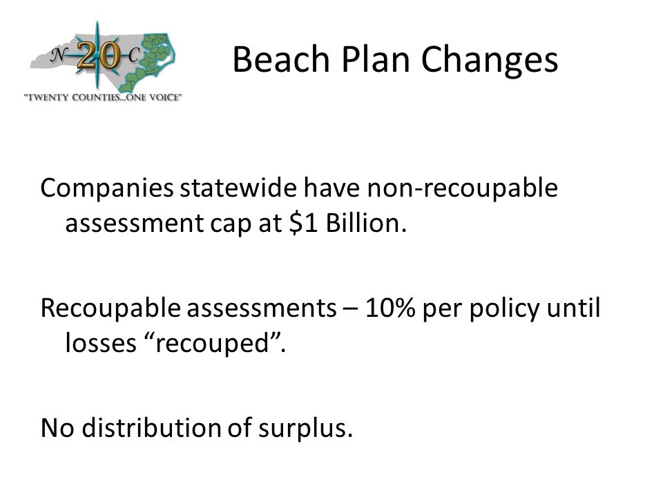 Beach Plan Changes Companies statewide have non-recoupable assessment cap at $1 Billion.