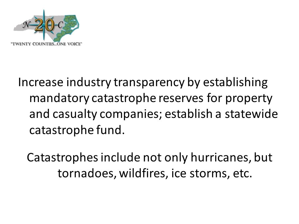 Increase industry transparency by establishing mandatory catastrophe reserves for property and casualty companies; establish a statewide catastrophe fund.