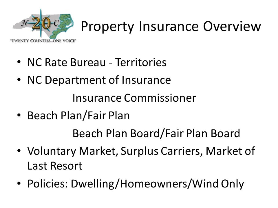 Property Insurance Overview NC Rate Bureau - Territories NC Department of Insurance Insurance Commissioner Beach Plan/Fair Plan Beach Plan Board/Fair Plan Board Voluntary Market, Surplus Carriers, Market of Last Resort Policies: Dwelling/Homeowners/Wind Only