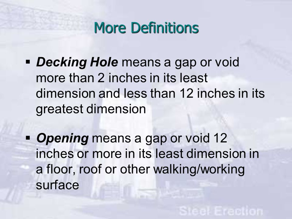 More Definitions  Decking Hole means a gap or void more than 2 inches in its least dimension and less than 12 inches in its greatest dimension  Opening means a gap or void 12 inches or more in its least dimension in a floor, roof or other walking/working surface