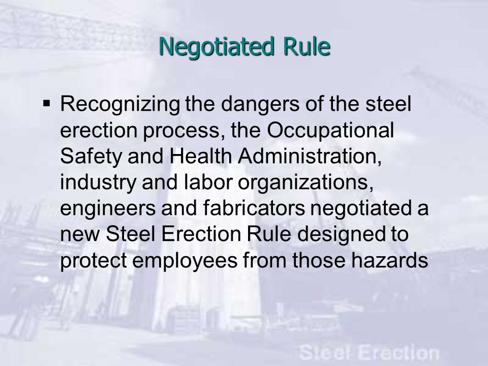  OSHA s new rule is expected to prevent 30 fatalities and 1,142 injuries annually, and save employers nearly $40 million a year Negotiated Rule