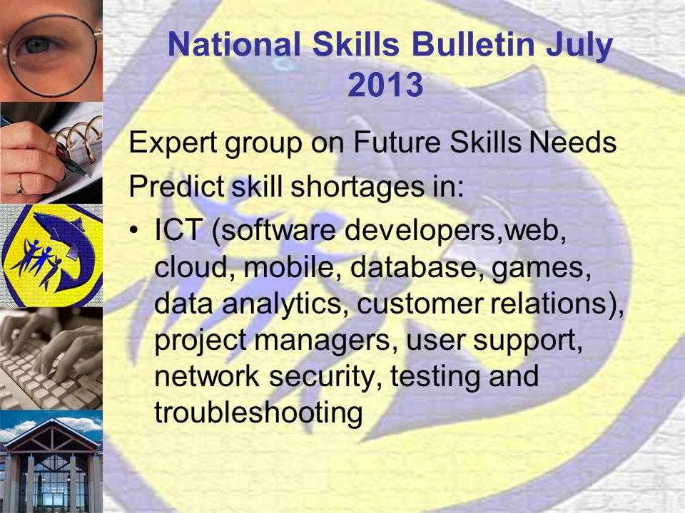 National Skills Bulletin July 2013 Expert group on Future Skills Needs Predict skill shortages in: ICT (software developers,web, cloud, mobile, database, games, data analytics, customer relations), project managers, user support, network security, testing and troubleshooting