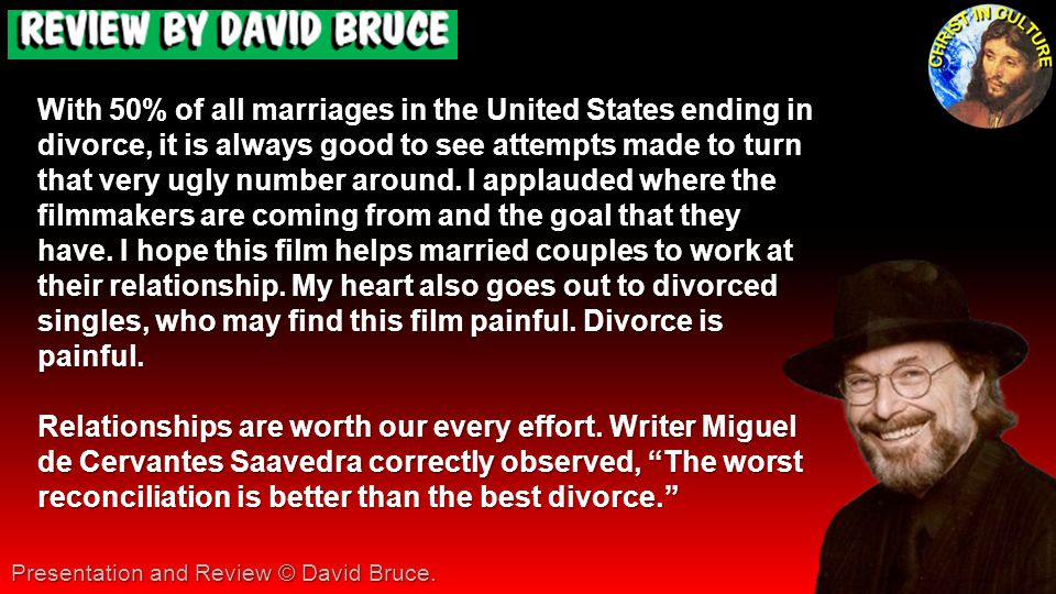 With 50% of all marriages in the United States ending in divorce, it is always good to see attempts made to turn that very ugly number around. I appla