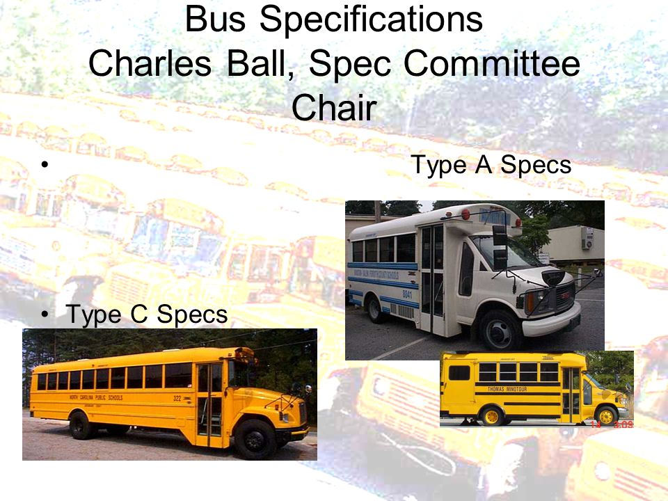 Bus Specifications Charles Ball, Spec Committee Chair Type A Specs Type C Specs