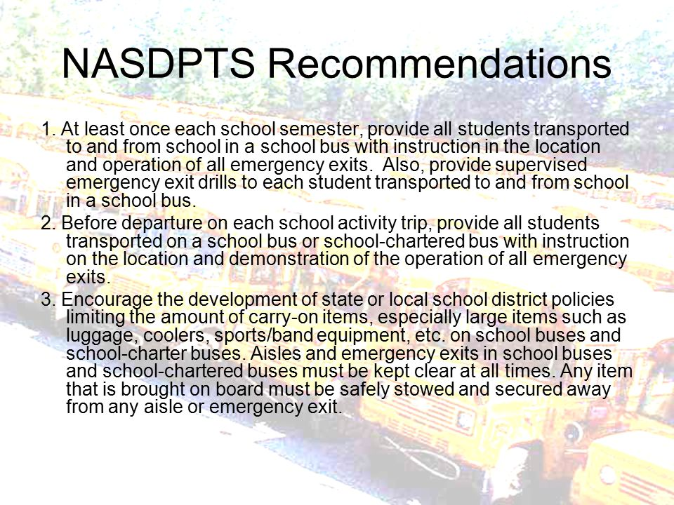 NASDPTS Recommendations 1.