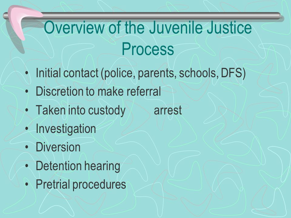 Process File a petition (indictment) Adjudicatory hearing (trial) Agree to a finding or deny petition Adjustment (plea bargain) Adjudication (conviction) Disposition (sentence) Bifurcated process Aftercare