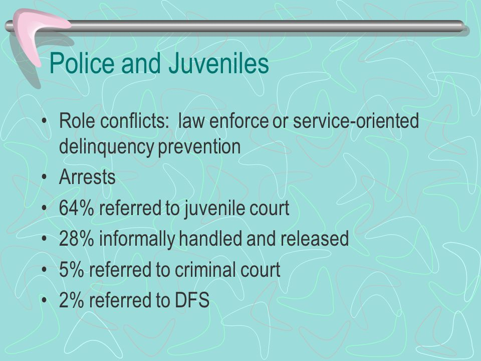 History 19 th century: increase in number of unemployed and homeless youths Wickersham Commission, IACP advocated police reform Delinquency control squads Vollmer (Berkeley): prevention programs and juvenile aid bureaus, first organized special police services for youths