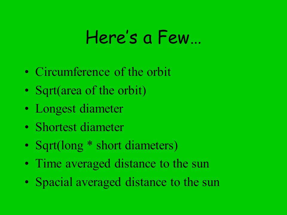 Here's a Few… Circumference of the orbit Sqrt(area of the orbit) Longest diameter Shortest diameter Sqrt(long * short diameters) Time averaged distance to the sun Spacial averaged distance to the sun