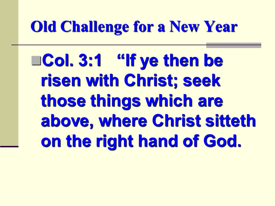 Old Challenge for a New Year Col.