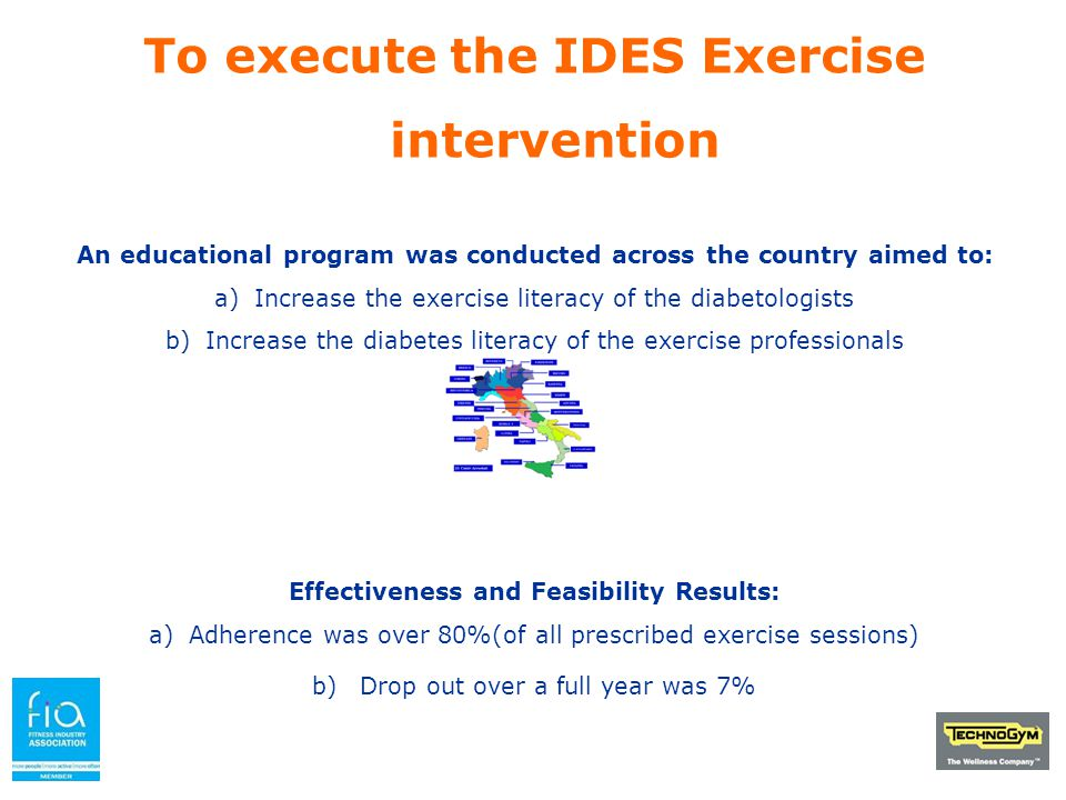 To execute the IDES Exercise intervention An educational program was conducted across the country aimed to: a)Increase the exercise literacy of the di