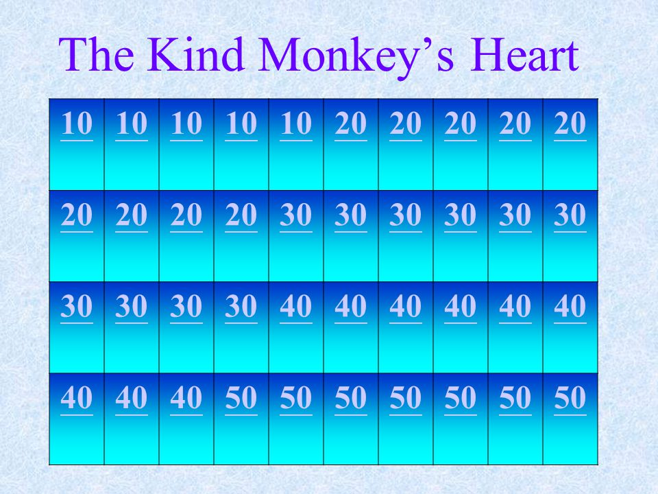 The Kind Monkey's Heart 10 20 30 40 50