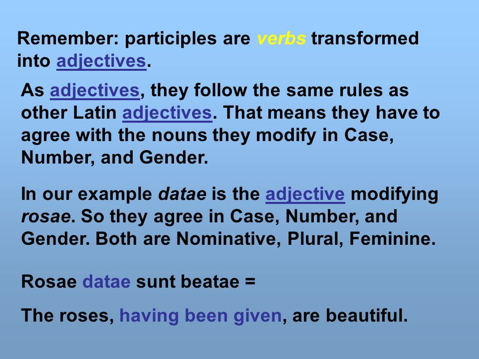 Remember: participles are verbs transformed into adjectives.