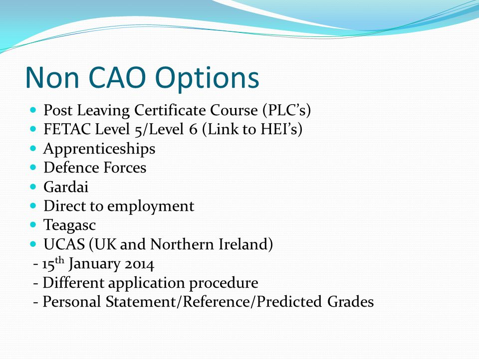 Non CAO Options Post Leaving Certificate Course (PLC's) FETAC Level 5/Level 6 (Link to HEI's) Apprenticeships Defence Forces Gardai Direct to employment Teagasc UCAS (UK and Northern Ireland) - 15 th January 2014 - Different application procedure - Personal Statement/Reference/Predicted Grades